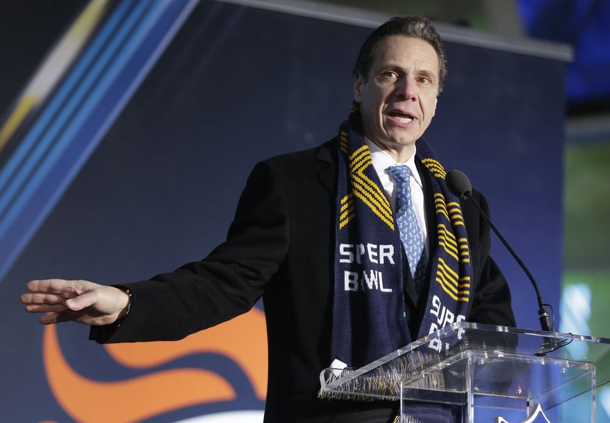 New York Gov. Andrew Cuomo talks during a ceremony unveiling the Super Bowl XLVIII Roman numerals on Super Bowl Boulevard Wednesday, Jan. 29, 2014, in New York. The Seattle Seahawks are scheduled to play the Denver Broncos in the NFL Super Bowl XLVIII football game on Sunday, Feb. 2, in East Rutherford, N.J. (AP Photo/Julio Cortez)