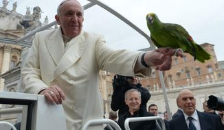 In this photo provided by the Vatican newspaper L'Osservatore Romano, Pope Francis holds a green parrot named Amore that was offered to him by his owner, Francesco Lombardi, during his weekly general audience in St. Peter square at the Vatican Wednesday, Jan. 29, 2014. After his dove release went terribly awry on Sunday, Francis gladly blessed the parrot and took the bird for a few seconds on his finger. The scene wasn't so peaceful on Sunday, when children flanking Francis set free two white doves from his studio window overlooking St. Peter's Square. The birds were soon attacked by a crow and seagull. (AP Photo/L'Osservatore Romano)