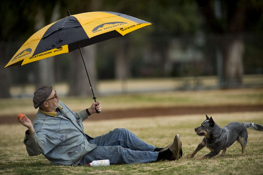 Bon Smith of Land Park area tosses a ball from under an umbrella for his dog 'Jesse' in William Land Park in Sacramento on Wednesday, Jan. 29, 2014. After a long dry season, rain finally fell in Sacramento. The National Oceanic and Atmospheric Administration's Web site is predicting a tenth of an inch of rain in San Francisco over the next two days and more than 2 inches in parts of Sacramento. (AP Photo/The Sacramento Bee, Randall Benton)  MAGS OUT; LOCAL TV OUT (KCRA3, KXTV10, KOVR13, KUVS19, KMAZ31, KTXL40); MANDATORY CREDIT