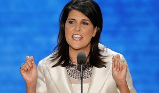 South Carolina Governor Nikki Haley addresses the Republican National Convention in Tampa, Fla., on Tuesday, Aug. 28, 2012. (AP Photo/J. Scott Applewhite)