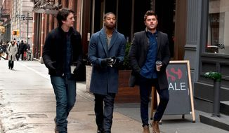 "From left: Miles Teller, Michael B. Jordan and Zac Efron star in ""That Awkward Moment."" It has all the charm of an afterschool special dressed up with four-letter words. (ASSOCIATED PRESS)"