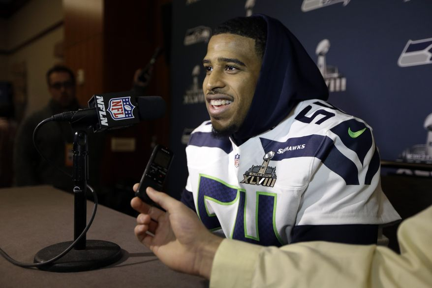 Seattle Seahawks linebacker Bobby Wagner answers questions during a media availability Thursday, Jan. 30, 2014, in Jersey City, N.J. The Seahawks and the Denver Broncos are scheduled to play in the Super Bowl XLVIII football game Sunday, Feb. 2, 2014. (AP Photo)