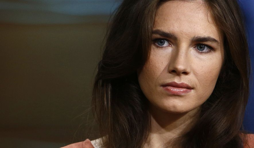 """This image released by NBC shows Amanda Knox during an interview on the """"Today"""" show in New York on Sept. 20, 2013. Knox defended her decision not to return to Italy for a new appeals trial over the 2007 killing of her British roommate, even as she acknowledged that """"everything is at stake,"""" insisting she is innocent. In March, Italy's supreme court ordered a new trial for Knox and her former Italian boyfriend. An appeals court in 2011 had acquitted both, overturning convictions by a lower court. Italian law cannot compel Knox to return for the new legal proceeding. (Associated Press/NBC, Peter Kramer) **FILE**"""