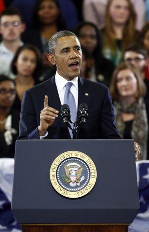 President Barack Obama speaks at McGavock High School on Thursday, Jan. 30, 2014, in Nashville, Tenn. (AP Photo/Wade Payne)
