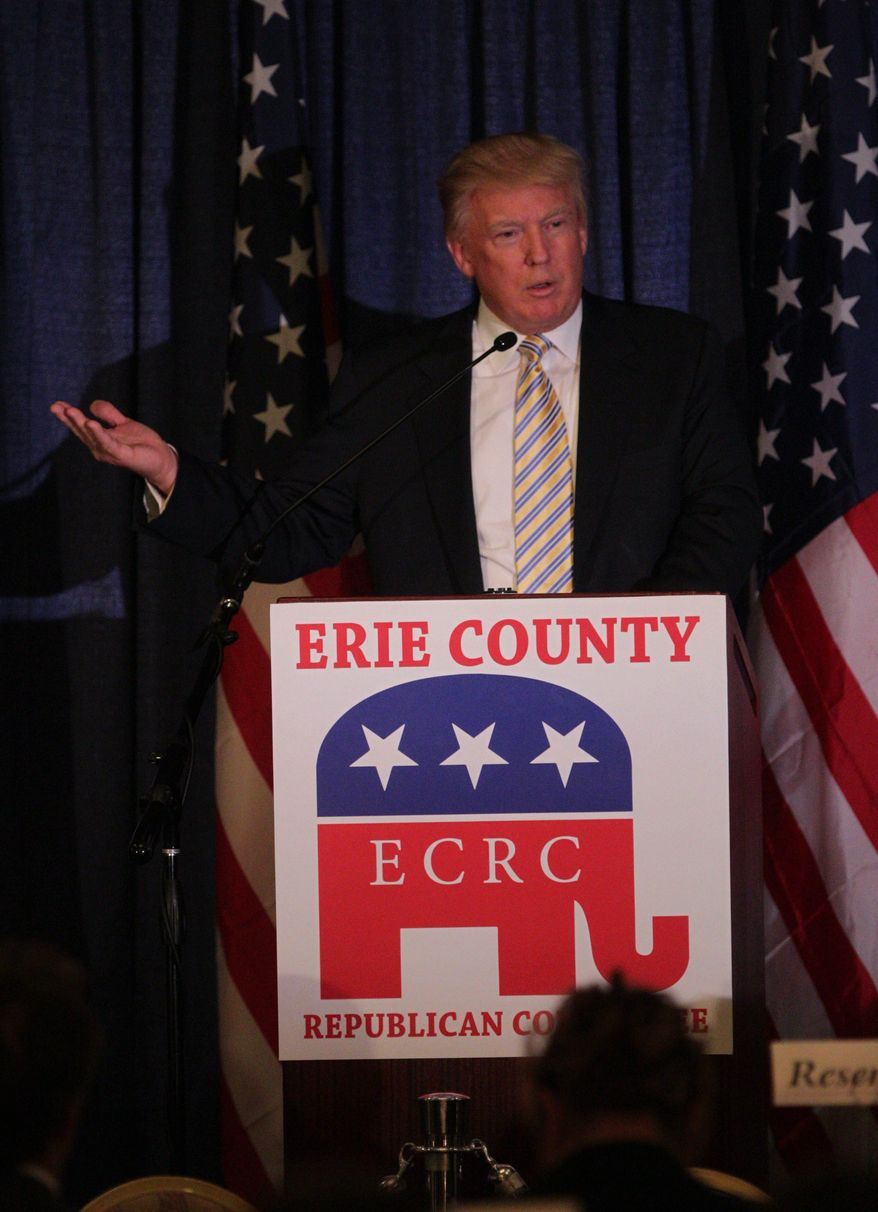 Donald Trump was the guest of honor and keynote speaker at the Erie County Republican Committee Lincoln Leadership Reception at Salvatore's Italian Gardens in Cheektowaga, N.Y. Friday, Jan. 31, 2014.  (AP Photo/The Buffalo News, Sharon Cantillon)