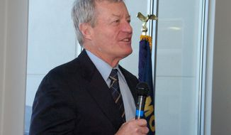U.S. Sen. Max Baucus speaks to supporters during a Friday, Jan. 31, 2014 rally held in Billings, Mont. to mark the end of the Democrat's four decades in Congress. A vote on Baucus' nomination to be the next U.S. ambassador to China is pending. (AP Photo/Matthew Brown)