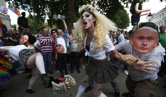 "FILE - In this Saturday, Aug. 10, 2013 file photo, demonstrators stage a theatrical play where gays are grabbed by others wearing masks of Russian President Vladimir Putin, during a protest against Russia's new anti-gay law banning ""propaganda of nontraditional sexual relations"" in central London. Despite seven months of international protests, Russia's law restricting gay-rights activity remains in place leading up to the winter olympic games. Yet the eclectic campaign has heartened activists in Russia and, without question, caught the attention of its targets - including organizers and sponsors of the Sochi Olympics that open on Feb. 7. (AP Photo/Lefteris Pitarakis)"