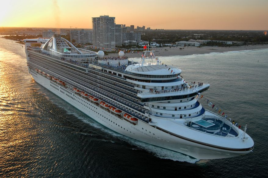 ** FILE ** The new Caribbean Princess departs on its maiden voyage from Port Everglades in Fort Lauderdale, Fla., in this April 3, 2004, file photo. Federal health officials are investigating after an outbreak of illness has caused Caribbean Princess cruise ship to ends its trip early and returned to port in Houston late Thursday, Jan. 30, 2014, more than a day ahead of schedule after more than 170 passengers and crew members aboard became sick. (AP Photo/Princess Cruises, Andy Newman, File)