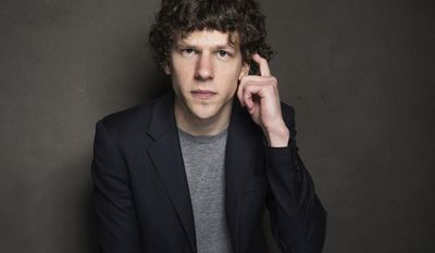 Jesse Eisenberg poses for a portrait at The Collective and Gibson Lounge Powered by CEG, during the Sundance Film Festival, on Friday, Jan. 17, 2014 in Park City, Utah. (Photo by Victoria Will/Invision/AP)