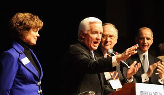 Pennsylvania Gov. Tom Corbett, speaks to the state GOP Winter Meeting and accepts their endorsement for another term as governor, at the Hershey Lodge and Convention Center in Hershey Pa., Saturday, Feb. 1, 2014. (AP Photo/Chris Knight)