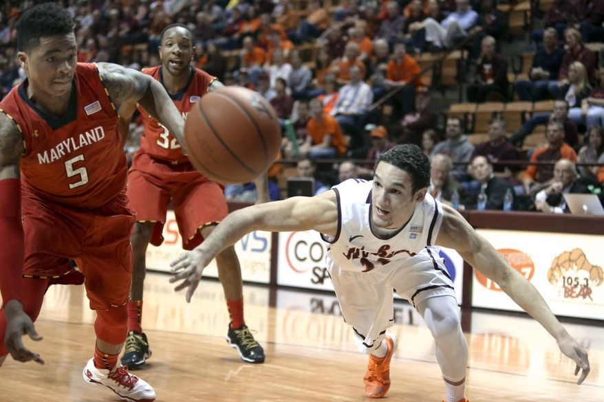 Maryland's Nick Faust (5) and Virginia Tech's Devin Wilson (11) chase a loose ball out of bounds during the first half of an NCAA college basketball game in Blacksburg, Va., Saturday, Feb. 1 2014. (AP Photo/The Roanoke Times, Matt Gentry) LOCAL TV OUT; SALEM TIMES REGISTER OUT; FINCASTLE HERALD OUT;  CHRISTIANBURG NEWS MESSENGER OUT; RADFORD NEWS JOURNAL OUT; ROANOKE STAR SENTINEL OUT