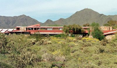 FILE - In this March 20, 2001 file photo, Frank Lloyd Wright's winter home and studio, also known as Taliesin West, is shown in Scottsdale, Ariz., on March 20, 2001.  The Frank Lloyd Wright Foundation has hired experts to track damage and needed improvements for Taliesin West in Scottsdale. Foundation officials say leaky roofs, cracking paint and an outdated system of water wells are among the problems. The foundation plans to solicit public donations to help fund the work.  (AP Photo/Jason Wise)