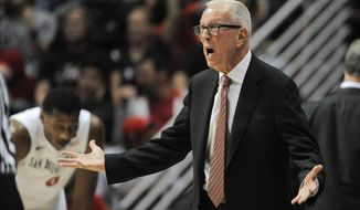San Diego State's head coach Steve Fisher argues a call during the first  half of an NCAA college basketball game against Colorado States on Saturday, Feb. 1, 2014, in San Diego. (AP Photo/Denis Poroy)