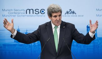 US Secretary of State John Kerry speaks during the Munich Security Conference at the Bayerischer Hof Hotel  Saturday, Feb. 1, 2014 in Munich, southern Germany. The annual meeting   was set to deal with thorny international issues, from the Syrian war and Ukraine's turmoil to Iran's nuclear program and US online surveillance.     (AP Photo/Brendan Smialowski ,Pool)
