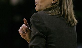 Missouri's coach Robin Pingeton talks to her players during the first half of their NCAA college basketball game against South Carolina, Sunday Feb. 2, 2014, in Columbia, S.C. (AP Photo/Mary Ann Chastain)