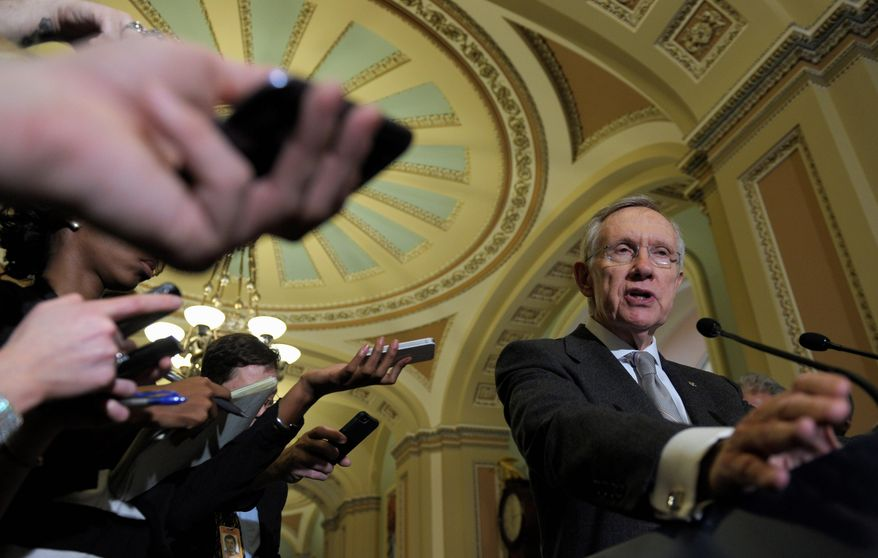 "Senate Majority Leader Harry Reid met President Obama on Monday just days after the Nevada Democrat opposed granting the president ""fast-track"" authority to negotiate trade deals in Asia and Europe with minimal input from Congress. The senator said trade was not discussed. (ASSOCIATED PRESS)"
