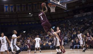 In this photo provided by Montana State University, Montana guard Mario Dunn goes for a dunk during the first half of a men's NCAA basketball game against Montana State, Monday, Feb. 3, 2014 in Bozeman, Mont. (AP Photo/ Montana State University, Kelly Gorham)