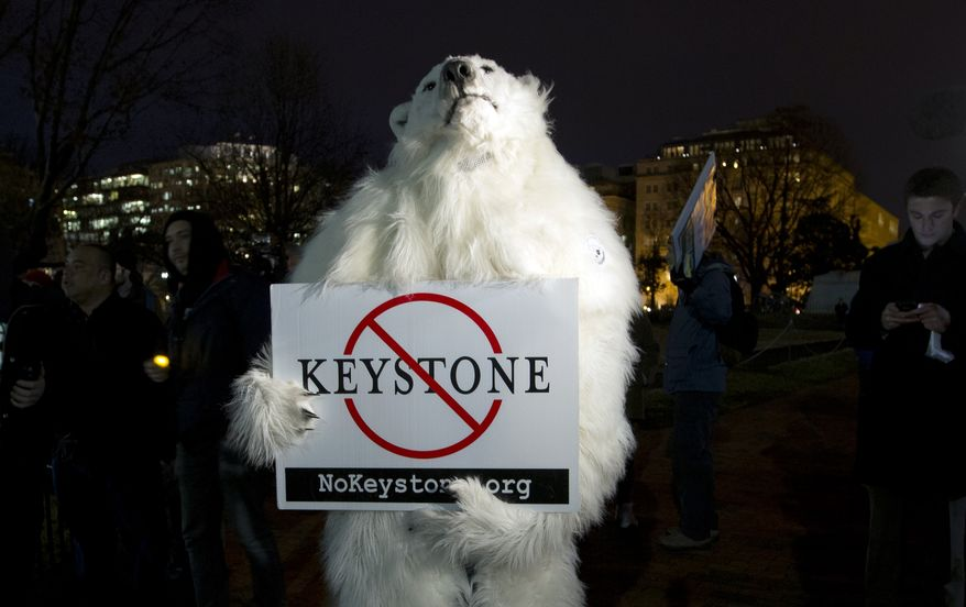 An activist dressed as a polar bear participates in a protest vigil  in Lafayette Park across from the White House, Monday, Feb. 3, 2014, in Washington, urging President Obama to reject the Keystone XL Pipeline following the release of the State Department's new environmental assessment. (AP Photo/Carolyn Kaster)