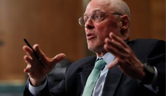 ** FILE ** Former Treasury Secretary Henry Paulson testifies on Capitol Hill in Washington, Thursday, May 6, 2010, before the Financial Inquiry Crisis Commission.(AP Photo/Pablo Martinez Monsivais)