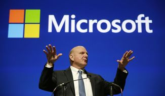 ** FILE ** In this Tuesday, Nov. 19, 2013, file photo, Microsoft CEO Steve Ballmer speaks at the company's annual shareholders meeting, in Bellevue, Wash. Microsoft announced Tuesday, Feb. 4, 2014, that Satya Nadella will replace Steve Ballmer as its new CEO. (AP Photo/Elaine Thompson, File)