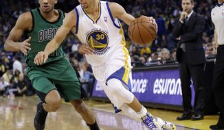 FILE - In this Jan. 10, 2014, file photo, Golden State Warriors' Stephen Curry (30) dribbles past Boston Celtics' Avery Bradley during the second half of an NBA basketball game in Oakland, Calif.  Curry is scoring seemingly at will, but his improved ability to find his teammates has elevated him to All-Star starter. (AP Photo/Marcio Jose Sanchez, File)