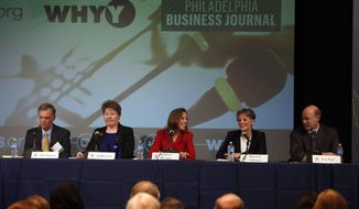 Former Pennsylvania environmental protection secretary John Hanger, left, Lebanon County commissioner Jo Ellen Litz, former Pennsylvania environmental protection secretary Katie McGinty,  U.S. Rep. Allyson Schwartz and York businessman Tom Wolf, right, participate in a gubernatorial candidates forum Tuesday Feb. 4, 2014  in Philadelphia.  Five Democratic gubernatorial hopefuls support raising the minimum wage and imposing a tax on natural gas drillers, but they disagree on expanding gambling in Pennsylvania.  (AP Photo/Jacqueline Larma)