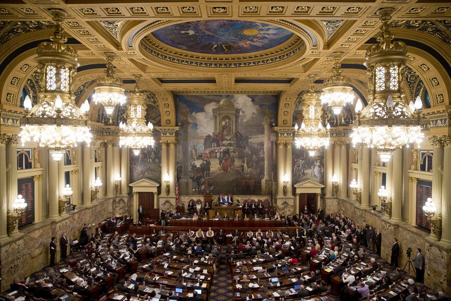 Gov. Tom Corbett delivers his budget address for the 2014-15 fiscal year to a joint session of the Pennsylvania House and Senate on Tuesday, Feb. 4, 2014, in Harrisburg, Pa. (AP Photo/Matt Rourke)