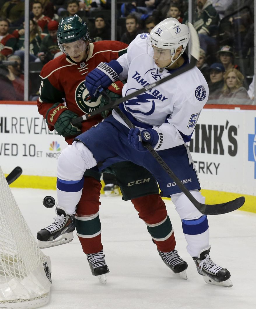 Tampa Bay Lightning center Valtteri Filppula, right, of Finland, and Minnesota Wild defenseman Jonas Brodin (25) vie for the puck during the second period of an NHL hockey game in St. Paul, Minn., Tuesday, Feb. 4, 2014. (AP Photo/Ann Heisenfelt)