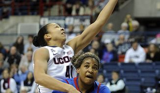Connecticut's Kiah Stokes (41) drives over SMU's Akil Simpson (5)during the first half of an NCAA college basketball game in Storrs, Conn., Tuesday, Feb. 4, 2014. (AP Photo/Fred Beckham)