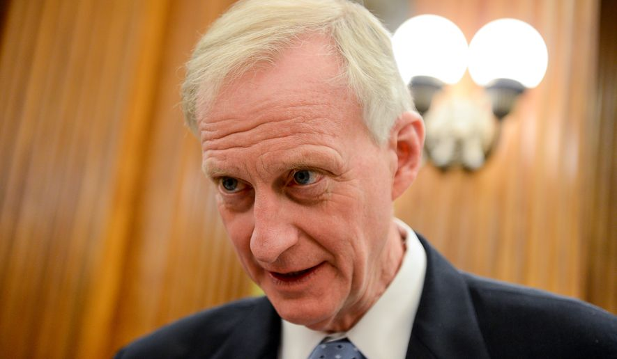 Jack Evans (Ward 1) speaks to a reporter in the Council Chambers before a Committee of the Whole Meeting at the Wilson Building, Washington, D.C., Tuesday, February 4, 2014. (Andrew Harnik/The Washington Times)