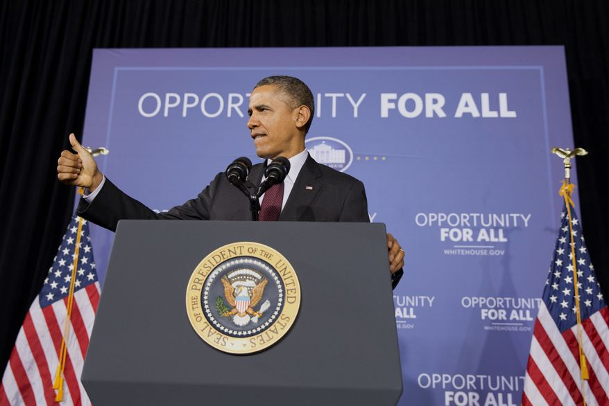 President Barack Obama makes the thumbs up sign as he ends a speech about his ConnetED goal of connecting 99% of students to next generation broadband and wireless technology within five years, Tuesday, Feb. 4, 2014, at Buck Lodge Middle School in Adelphi, Md. (AP Photo/Jacquelyn Martin)
