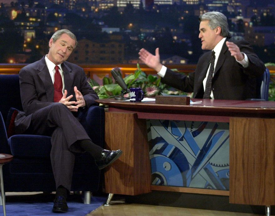 "Republican presidential candidate Texas Gov. George W. Bush talks with Jay Leno during an appearance on ""The Tonight Show with Jay Leno"" in Burbank, Calif., Monday, March 6, 2000. (AP Photo/Eric Draper)"