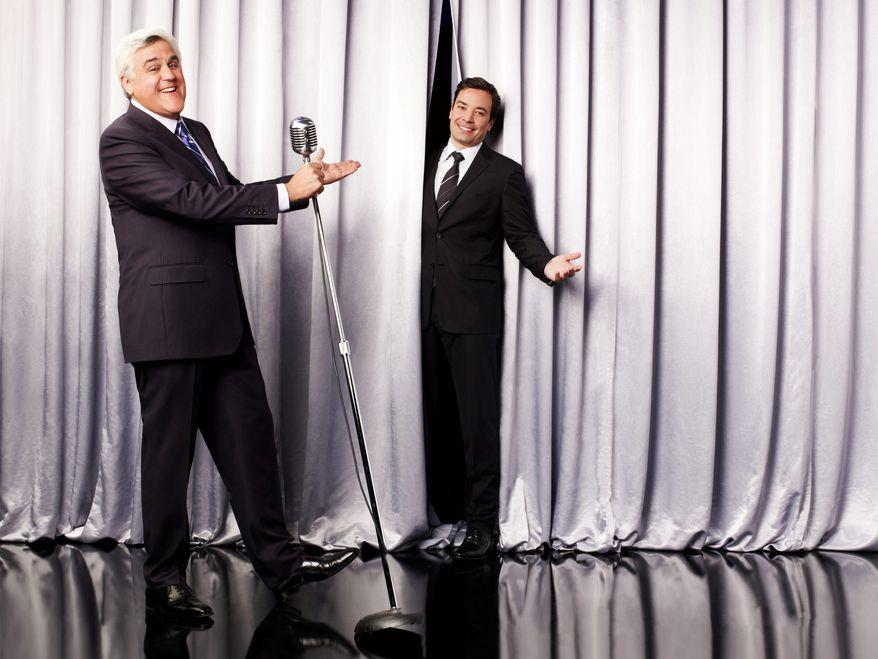 """NBC via Associated PressJay Leno brings his successor, Jimmy Fallon, onto the """"Tonight"""" show stage. Mr. Fallon, who will take the iconic late-night show from Los Angeles to New York starting Feb. 17, said Mr. Leno is the """"nicest guy in the business."""""""