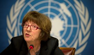 MP Kirsten Sandberg, chairwoman of the U.N. human rights committee on the rights of the child, talks during a press conference at the United Nations headquarters in Geneva, Switzerland, Wednesday, Feb. 5, 2014. A U.N. human rights committee denounced the Vatican on Wednesday for adopting policies that allowed priests to rape and molest tens of thousands of children over decades, and urged it to open its files on the pedophiles and the churchmen who concealed their crimes. (AP Photo/Anja Niedringhaus)