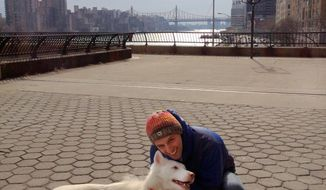 In this Feb 16, 2013, photo provided by the ASPCA, Gavriel Kohlberg of New York City  poses with Maya, a 2-year-old Siberian husky mix, during a walk in Charles Schurz Park on the upper east side of Manhattan. When Kohlberg proposed to Rebecca Hjorten in Central Park, it was to both Hjorten and Maya. (AP Photo/Rebecca Hjorten)