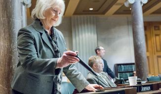 Sen. Mae Beavers, R-Mt. Juliet, concludes remarks on the Senate floor in Nashville, Tenn., on Wednesday, Feb. 5, 2014. Beavers' proposal calling for the popular election of the state's attorney general fell short of the majority needed to pass the upper chamber. (AP Photo/Erik Schelzig)