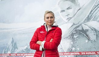 Russian tennis player Maria Sharapova poses for photographers while visiting her first court of Kafelnikov Tennis School in Riviera Park in Sochi, Russia, Wednesday, Feb. 5, 2014, prior to the start of the 2014 Winter Olympics. (AP Photo/Pavel Golovkin)