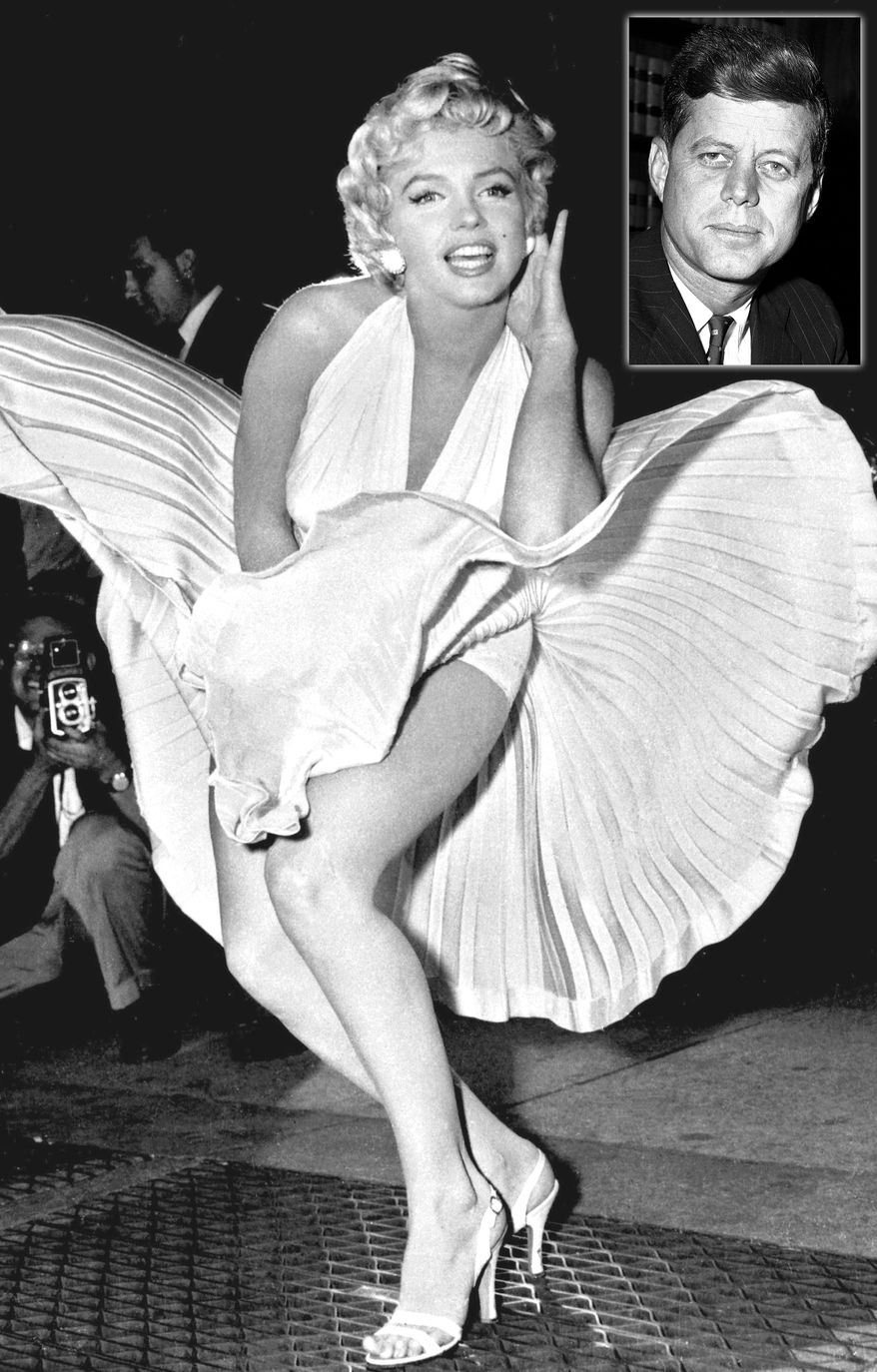 """PHOTO ILLUSTRATION President John F. Kennedy and Marilyn Monroe. Marilyn Monroe poses over the updraft of New York subway grating while in character for the filming of """"The Seven Year Itch"""" in Manhattan on September 9, 1954.  The former Norma Jean Baker modeled and starred in 28 movies grossing $200 million. Sensual and seductive, but with an air of innocence, Monroe became one of the world's most adored sex symbols. She died alone by suicide, at age 36 in her Hollywood bungalow.  (AP Photo/Matty Zimmerman)"""