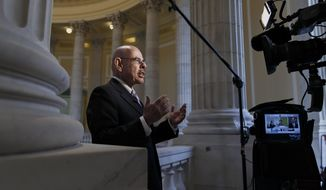 Retiring Rep. Henry Waxman, D-Calif., a liberal force on health issues who helped write and enact the 2010 Affordable Care Act, defends President Barack Obama's health care law during a TV news interview on Capitol Hill in Washington, Wednesday, Feb. 5, 2014. New estimates that President Barack Obama's health care law will encourage millions of Americans to leave the workforce or reduce their work hours have touched off an I-told-you-so chorus from Republicans, who've claimed all along that the law will kill jobs. (AP Photo/J. Scott Applewhite)