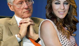 Former President Bill Clinton and actress Elizabeth Hurley. (Photo illustration)