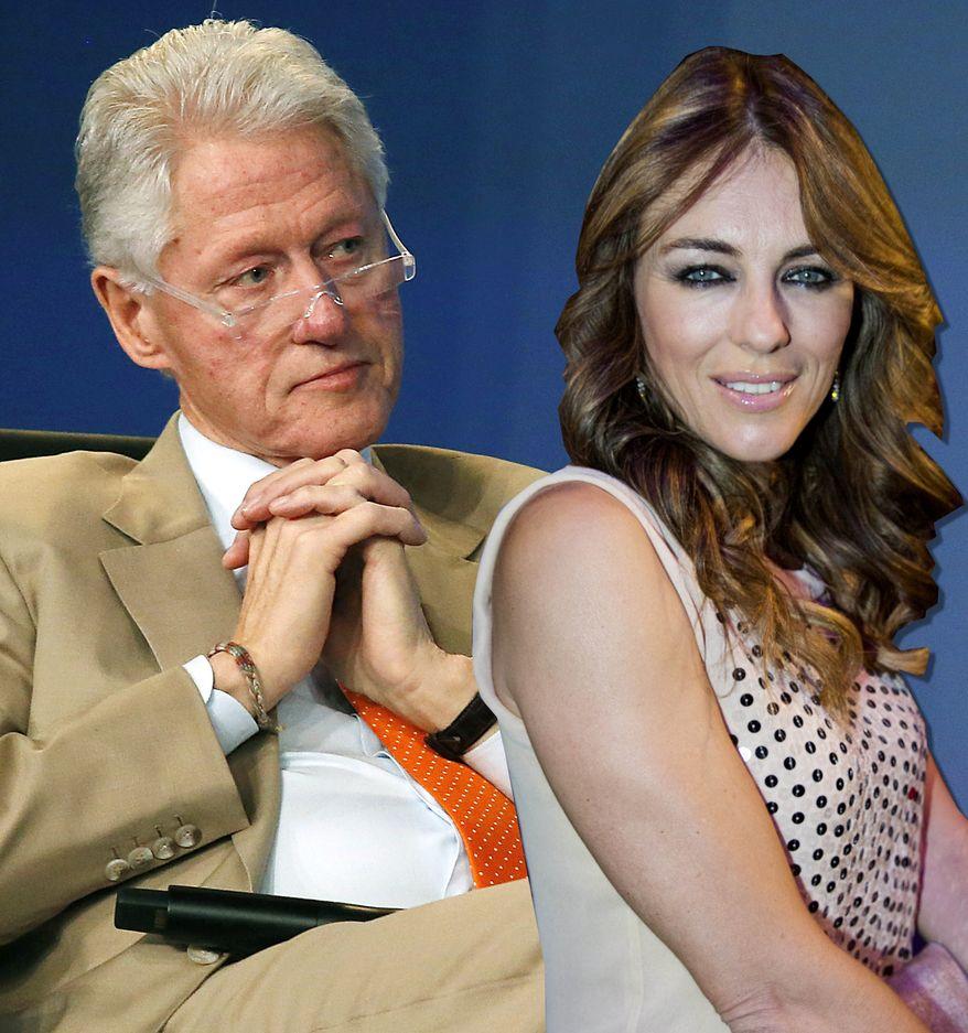 Former President Bill Clinton and actress Elizabeth Hurley. (Photo illustration)