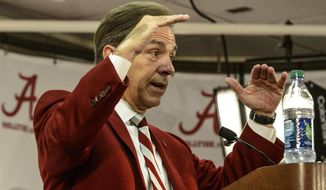 Alabama Coach Nick Saban discusses the signing day successes of 2014, Wednesday, Feb. 5, 2014, at the Mal Moore Athletic Facility in Tuscaloosa, Ala. (AP Photo/The Birmingham News, Vasha Hunt)