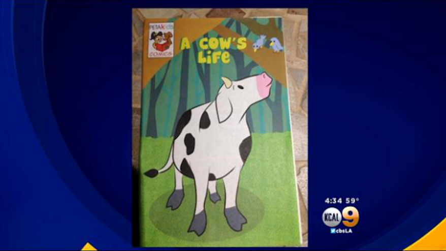 PETA reportedly handed out graphic pamphlets, titled 'A Cow's Life,' to students at Calabash Elementary School in Los Angeles, Ca. (CBS Los Angeles)