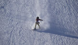 United States' Ty Walker competes during the women's snowboard slopestyle qualifying at the Rosa Khutor Extreme Park ahead of the 2014 Winter Olympics, Thursday, Feb. 6, 2014, in Krasnaya Polyana, Russia.  (AP Photo/Andy Wong)