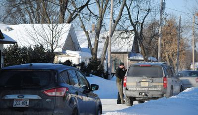 Town of Beloit Police, Rock County Sheriff's Office and FBI agents were all on the scene Thursday, Feb. 6, 2014, in the 800 block of Homeland Court to investigate a report of a missing baby, 5-day-old baby Kayden Powell. (AP Photo/ Beloit Daily New, Shaun Zinck) ** FILE **