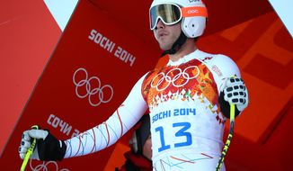 United States' Bode Miller prepares to start in a men's downhill training run for the 2014 Winter Olympics, Thursday, Feb. 6, 2014, in Krasnaya Polyana, Russia. (AP Photo/Alessandro Trovati)
