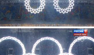In a combo of frame grabs taken from Russian television, five snowflakes float together in Fisht Stadium during the opening ceremony of the 2014 Winter Olympics in Sochi, Russia, Friday, Feb. 7, 2014. During the live ceremony, the fifth ring failed to fully open to create the Olympics rings. On Russian television, producers inserted footage from a dress rehearsal when all five rings joined together and erupted in pyrotechnics.(AP Photo)