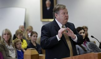 Plaintiff attorney Richard Gray makes his closing arguments in the second phase of Texas' school finance trial before State District Judge John Dietz, Friday,  Feb. 7, 2014, in Austin, Texas. (AP Photo/Eric Gay)