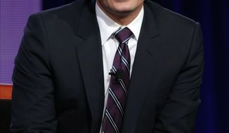"""File-This photo released by NBC shows Jimmy Fallon who will be the new host of """"Tonight Show Starring Jimmy Fallon"""".  Fallon's departure from """"Late Night"""" on Friday, Feb. 7, 2014, after five years in the host chair, he will be off the NBC airwaves a scant 10 days before coming back as host of """"The Tonight Show,"""" which was vacated a day earlier by Jay Leno after 22 years. (AP Photo/NBC, Chris Haston, File)"""