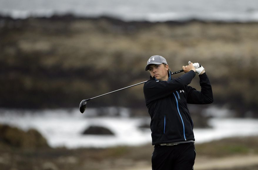 Jordan Spieth hits off the 13th tee Friday, Feb. 7, 2014, during the second round of the AT&T Pebble Beach Pro-Am golf tournament on the Monterey Peninsula Country Club Shore Course in Pebble Beach, Calif. (AP Photo/Ben Margot)